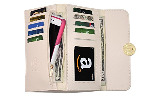- Women's Trifold Leather Wallet Credit Card Cash Organizer with Cell Phone Holder   Beige