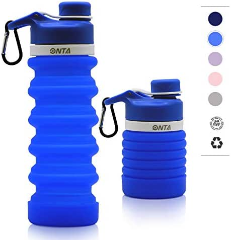 ONTA Collapsible Water Bottle- BPA Free Silicone Foldable Water Bottle for Travel, FDA Approved Food-Grade Silicone Portable Leak-Proof Travel Water Bottle, 20oz