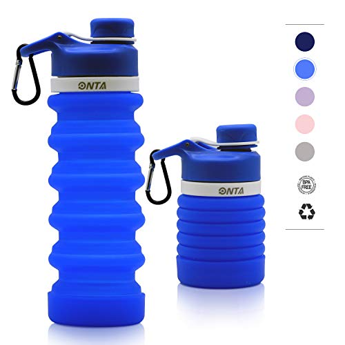 - ONTA Collapsible Water Bottle- BPA Free Silicone Foldable Water Bottle for Travel, FDA Approved Food-Grade Silicone Portable Leak-Proof Travel Water Bottle, 20oz (Blue)