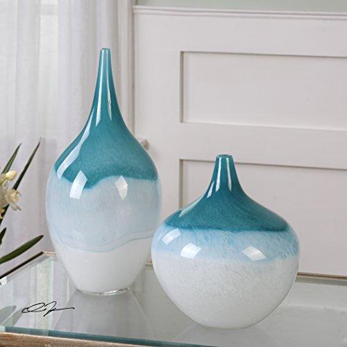 The Uttermost Carla Teal White Vases, S/2