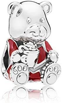 Pukido 2018 New 100/% 925 Sterling Silver Christmis Bear Charm Beaded Original Womens Jewelry Fashion Charming Gift