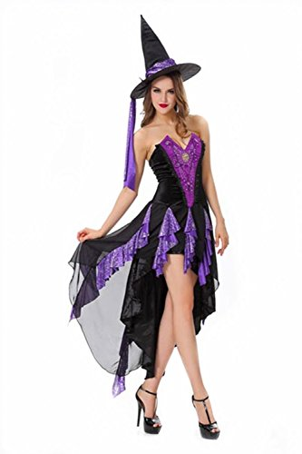 Lover-baby® Lace Tulle Tattered Purple Satin Corset Halloween Witch Costume]()