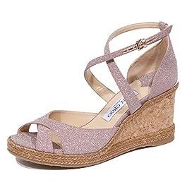 JIMMY CHOO 1929J Sandalo Donna Pink Ballet Alanah Zeppa fine Glitter Shoe Woman
