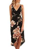 VAYAGER Womens Wrap V Neck Spaghetti Strap Summer Dress Floral Sleeveless Casual Midi Dresses