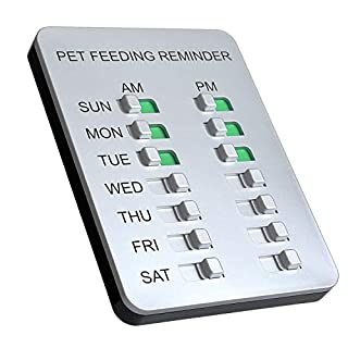 Allinko Dog Feeding Reminder Magnetic Reminder Sticker, AM/PM Daily Indication Chart Feed Your Puppy Dog Cat, Easy to Stick on Any Magnet or Plastic Surface - Prevent Overfeeding or Obesity Silver