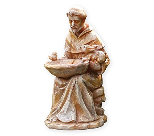Napco 18062 Sitting St. Francis with Animals and Bird Feeder Garden Statue, 11.5