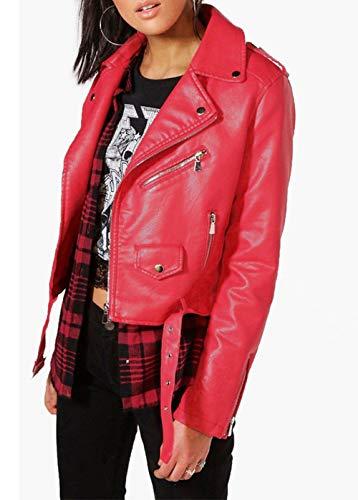 Jacket E Corto Blouse Pelle Giovane Tops Manica Coat Simple Casual Outerwear Lunga Di Giacche Primavera Moda Rosso Autunno Giacca Cappotto Sottile fashion Donna EnSq1w