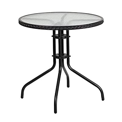 Flash Furniture 28'' Round Tempered Glass Metal Table with Rattan Edging