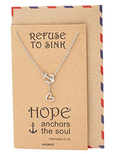 Quan Jewelry New Anchor Necklace, Sailor Pendant with Mini Heart Charm, Seaman Lariat Necklace, Sea Anchor Inspirational Quote on Greeting Card ()