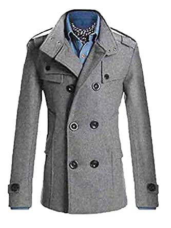 Men Slim Fit Long Winter Warm Double Breasted Peacoat Coat