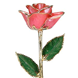 Pink Laquered 24k Gold Dipped Long Stem Genuine Rose In Gift Box 21