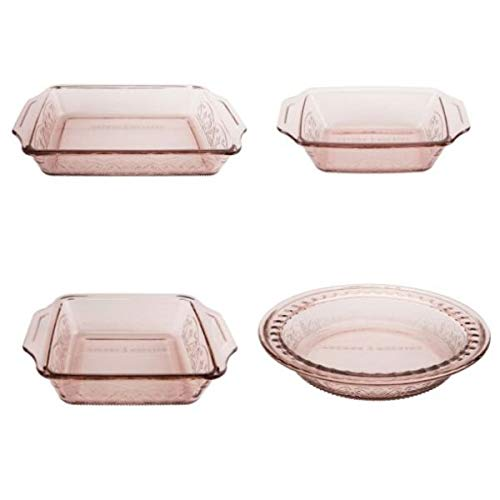 Anchor Hocking 4-Piece Laurel Embossed Rosewater Bake and Serve Set from Anchor Hocking