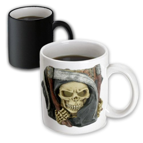 3dRose Halloween Scary Grim Reaper Magic Transforming Mug, 11-Ounce (Scary Halloween Coffee Mugs)