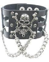 Skull Head Crossbone Rose W Chain Black Leather Heavily Metal Wristband Bracelet