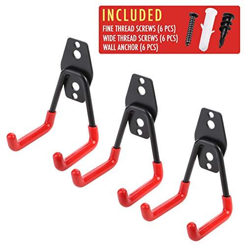 Ladder Hanging - 3pcs Garage Hanger Hooks for Hanging Ladder Hose Extension Cord Shovel Bike Chair Garden Tools, [UPGRADE VERSION] Wall Mount Organizer Storage Holder with Longer Screws Included and Anti Slip Rubber