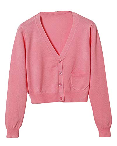 Pink1 V Manches Col Pull Femme Gilet Longues Basic Mengmiao Gilet Cardigan APvxZqn6
