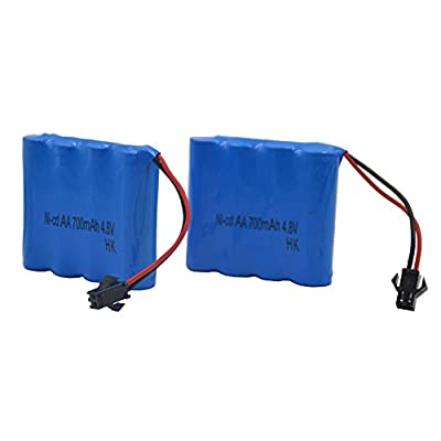 Blomiky 2pcs 4.8V 700mAH Ni-Cd AA Battery for Blomiky C181 1/18 1:18 RC Rock Crawler Vehicle or RC Boat Ship C181 Battery 2 Pack