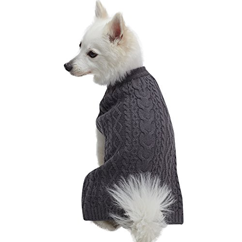 Blueberry Pet 16 Colors Classic Wool Blend Cable Knit Pullover Dog Sweater in Smoke Grey, Back Length 10