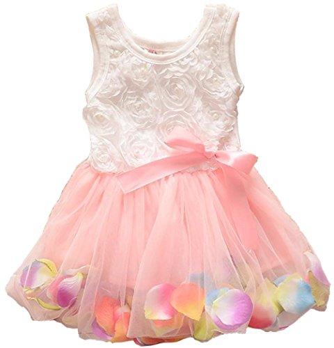 Metee Dresses Kids Girls Princess Rose Garden Flower Petal Lace Ruffled Tulle Skirts Dresses(XS(Advice 0.5-1 Years), Pink)