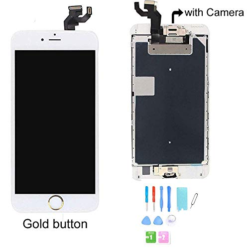 recyco Compatible LCD Screen Replacement for iPhone 6S Plus Display with Gold Home Button Front Camera+ Proximity Sensor+ Ear Speaker Full Touch Digitizer Assembly Frame + Tools -