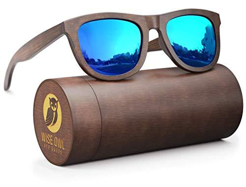 Wood Sunglasses Polarized for Men & Women - Wayfarer Style Bamboo Wooden ()
