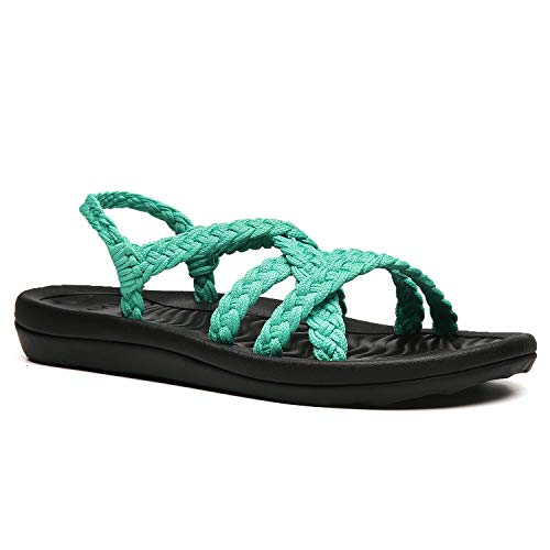 URRAX Women's Comfortable Flat Walking Sandals with Arch Support Waterproof for Walking/Hiking/Travel/Wedding/Water Spot/Beach. 19ZDUR02-W15-11 Turquoise
