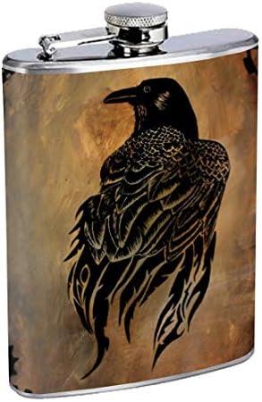 Edelstahlflasche Raven 8oz Drinking Whiskey