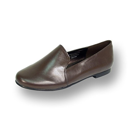 FIC PEERAGE Charlie Women Wide Width Leather Flat for Everyday Life (Size & Measurement Guides Available) Brown