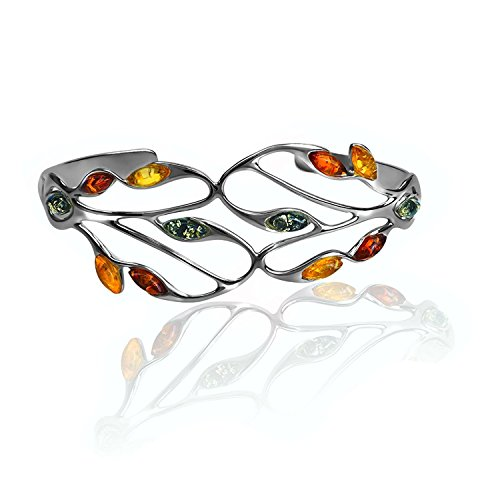 (Multicolor Amber Sterling Silver Marquise Cuff Open Bracelet 18 cm)