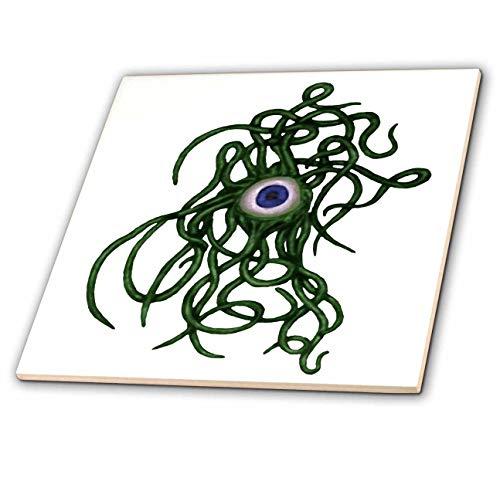 3dRose Taiche - Vector - Halloween Monster - Viral Bacteria Evil Eye Demon Cyclops Monster in Green - 8 Inch Ceramic Tile -