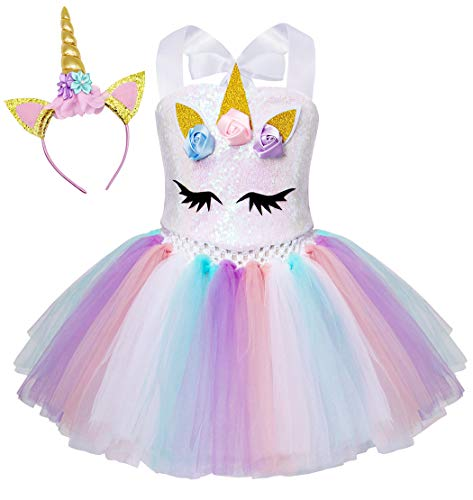 Cotrio Kids Girls Unicorn Princess Dress Fancy Halloween Costume Tutu Dress Cosplay Party Outfits Age 8-9 Years Size 8 (White)