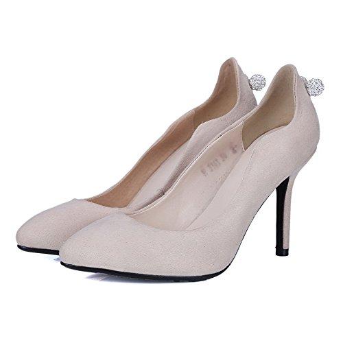 AgooLar Damen Hoher Absatz Rein Ziehen auf Mattglasbirne Spitz Zehe Pumps Schuhe Cremefarben