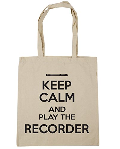 10 Natural Recorder Shopping the Play 42cm litres and Tote x38cm Beach Gym Calm Keep HippoWarehouse Bag Xqw0FOZy
