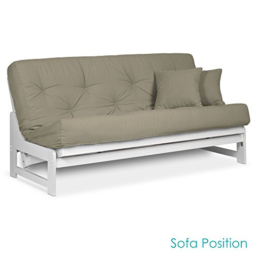 Nirvana Futons Arden White Futon Set Full or Queen Size - Armless Wood Futon Frame with Mattress Included (Twill Khaki), More Mattress Colors Available, Space Saving Modern Sofa Bed Sleeper