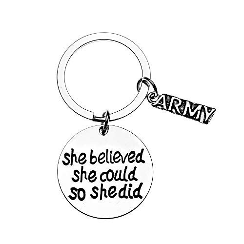 US Army She Believed She Could So She Did Keychain, Inspirational Military Key Rings Gift for Army Daughter, Wife, Mom, Sister or Niece ()
