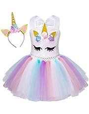 AmzBarley Eenhoornkostuum, voor kinderen, eenhoorns, meisjes, prinsessenjurken, verjaardagsfeest, aankleding, carnaval, Halloween, cosplay, avondjurk, kleding met hoofdband