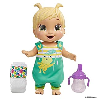 Baby Alive Baby Gotta Bounce Doll, Frog Outfit, Bounces with 25+ SFX and Giggles, Drinks and Wets, Blonde Hair Toy for Kids Ages 3 and Up