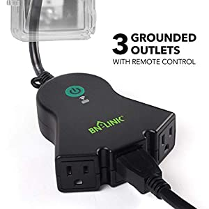 BN-LINK Smart WiFi Heavy Duty Outdoor Outlet, Timer and Countdown Function, No Hub Required for Outdoor Lights, Compatible with Alexa and Google Assistant (Outdoor) 2.4 GHz network only