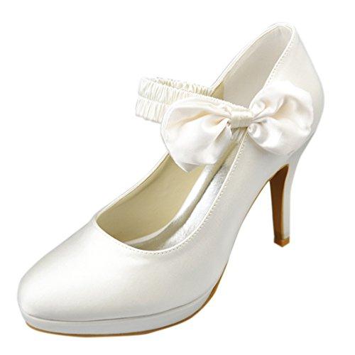 Minishion Damesschoenen Stiletto Hoge Hak Mary Jane Satijn Avondfeest Bruids Strappy Schoenen Ivoor-10cm Hak