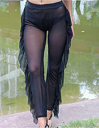 e1c49da06f5e7 Doqcey Women's See Through Sheer Mesh Ruffle Swimsuit Beach Cover up Pant ( Tag XL,