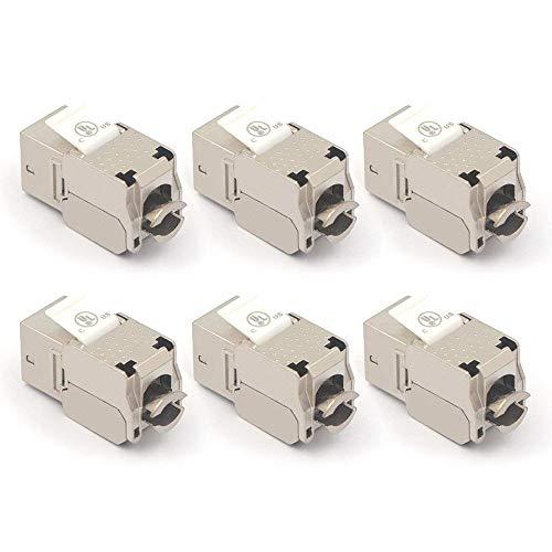 ([UL Listed] VCE 6-Pack RJ45 Cat6A Shielded Metal Keystone Jacks)