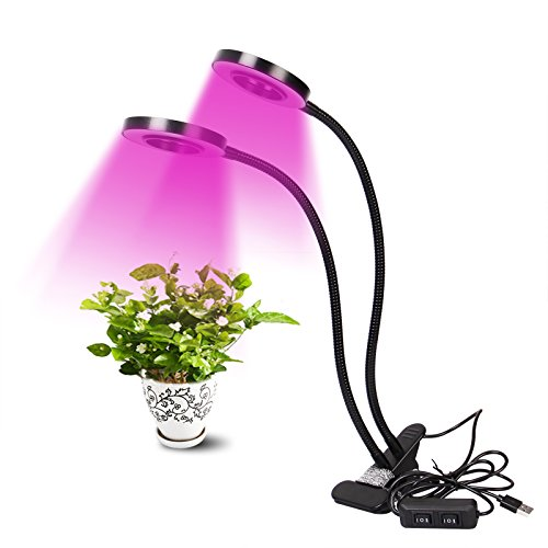 WOLTU 18W Dual Head LED Grow Light,Desk Clip and 360 Degree Adjustment Plant Lights with UV&IR for Indoor Plant Veg and Flower,GLX1003blk by WOLTU