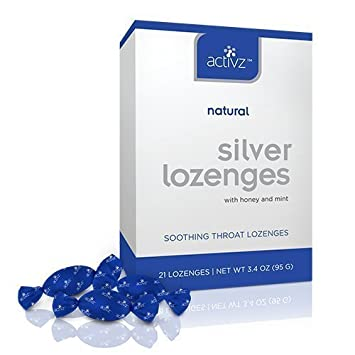 Activz Silver Throat Lozenges with honey & mint- 21 Lozenges/ Net WT 3.4 oz
