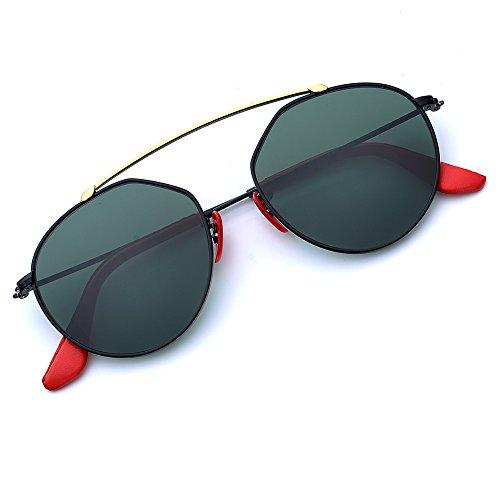 BNUS Designer Shades Fashion Round Style Corning Flat Glass Lenses Polarized Sunglasses for women Italy made (Frame: Black/Lens: G15, Polarized)