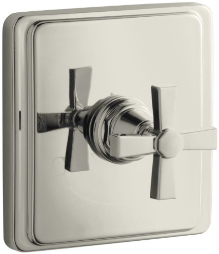 - KOHLER K-T13173-3A-SN Pinstripe Pure Thermostatic Valve Trim, Cross Handle, Valve Not Included, Vibrant Polished Nickel