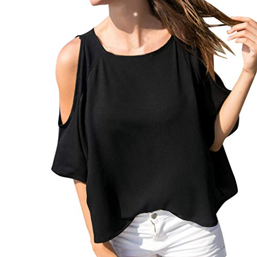 Tantisy ♣↭♣ Women's Off Shoulder Half Sleeve Chiffon Tops Fashion Casual Ladies Blouse Comfy Breathable Black