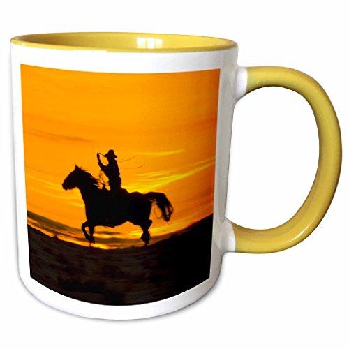 3dRose Danita Delimont - Cowboys - North America, USA, Wyoming, Shell, Cowboy, lariat - US51 TEG0036 - Terry Eggers - 15oz Two-Tone Yellow Mug (mug_149064_13) ()