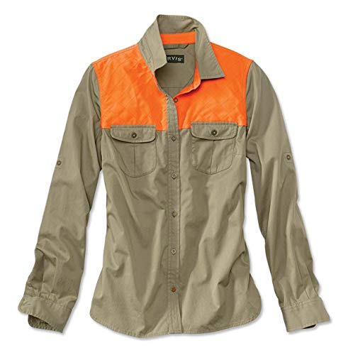 Orvis Women's Midweight Shooting Shirt, Tan/Blaze, Large by Orvis