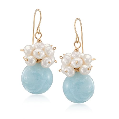 Ross-Simons 15.00 ct. t.w. Aquamarine and 3-4mm Cultured Pearl Drop Earrings in 14kt Yellow Gold