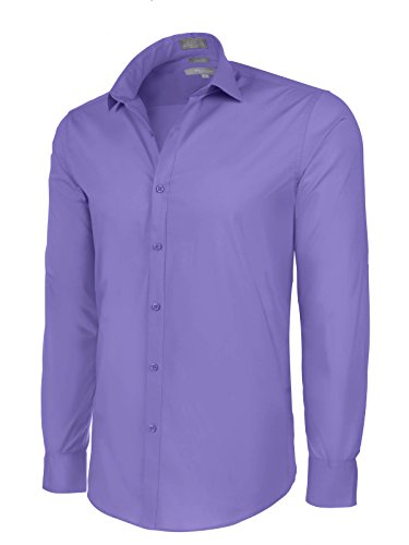 Convertible Golf Shirt (Platino de Marquis Slim Fit Cotton/Spandex Dress Shirt - Iris Medium (15-15.5) 33/34 Sleeve)